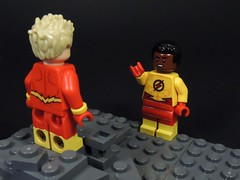 You're the Flash?! (MrKjito) Tags: lego minifig super hero comics comic barry allen wally west flash dc rebirth iris kid speed force secret identiy