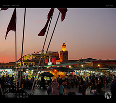 Jamaa El Fna (tomraven) Tags: morocco tomraven aravenimage night marrakech flags sunset lights colour people square meetingplace maroc music q32017 lumix gx8