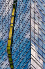 Chevrons and chute. (bkkay1) Tags: chicago building abstract reflections sky clouds blue