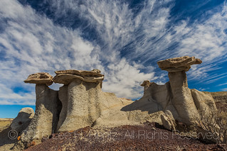 Hoodoos and Dramatic Sky in the Bisti Badlands