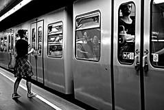 REFLECTION (Roi.C) Tags: street train underground candid blackwhite black white blackandwhite bw nikkor nikon nikond5300 europe vienna austria standing walking women girl people subway outdoor monochrome