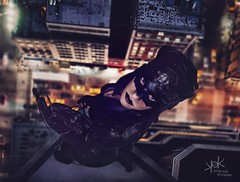 Steampunk Gotham Sirens: Ailiroy as Cat Woman: over the streets of Gotham (SpirosK photography) Tags: steampunk steampunkgothamsirens gothamsirens studio photoshoot victorian portrait strobist nikon d750 athens greece spiroskphotography spiroskphotographystudio cosplay costumeplay ailiroy catwoman rooftop composite gotham night clouds sky moon highway cars streets fromabove