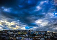 Southern Skies (Explore) (Rae de Galles) Tags: fishingtown fishing colour buildings town village uk summer seaside devon southcoast south drama overcast stormy clouds sun sky skies coast brixham