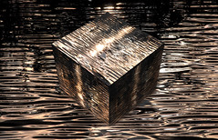 175 (robwiddowson) Tags: cube water golden gold 3d digitalart digital art robertwiddowson ripples