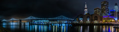 late night panorama from pier 1 (pbo31) Tags: sanfrancisco california nikon d810 night dark black color city urban september 2017 summer boury pbo31 panoramic large stitched panorama baybridge 80 bridge ferrybuilding embarcadero portofsanfrancisco reflection bay latenight pier 1 salesforce construction financialdistrict skyline green