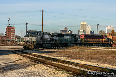 NS 9103 | GE C40-9W | CN Memphis Subdivision (M.J. Scanlon) Tags: ns9103 ns6603 wc6619 atsf5591 ns norfolksouthern wc wisconsincentral atsf atchisontopekaandsantaferailway atchisontopekasantafe atchisontopekaandsantafe santafe emd ge c409w sd60 sd45 rjy30 cnrjy30 bnsf bnsfrailway bnsfthayersouthsub cn cnmemphissub canadiannational skyline memphis tennessee digital merchandise commerce business wow haul outdoor outdoors move mover moving scanlon canon eos engine locomotive rail railroad railway train track horsepower logistics railfanning steel wheels photo photography photographer photograph capture picture trains railfan