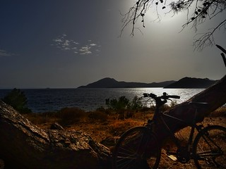 My bike under the sunset