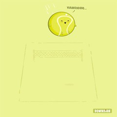 Let's bounce (DOWNSIGN) Tags: tennis ball net pun doodle yellow art humor funny sky air
