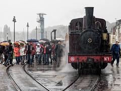 Jour de pluie sur les rails (Lucille-bs) Tags: europe france hautsdefrance picardie somme baiedesomme stvalérysursomme pluie parapluie train rail gens machiniste conducteur n°1 vapeur