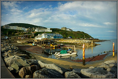 Ventnor Harbour, low tide (Jason 87030) Tags: water sea boats harbour uk crabs lobsters scene vista sony weather holiday iow island isleofwight unitedkingdom greatbritain pier seaside coast industry maritime sky tide
