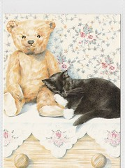 An Afternoon Nap (mrsris) Tags: postcard athena teddy cat teddybears delythlloyd