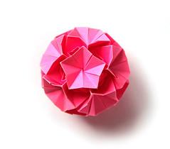 Юна, с днём рождения! (Vladimir Phrolov) Tags: origami modular kusudama modularorigami paper paperfolding vladimirfrolov кусудама оригами модульноеоригами icosahedral pink blooming