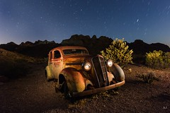 Stranded in the desert. (Aztravelgrl (Forgotten Places Photography)) Tags: nelsonghosttown nevada usa abandoned ghosttown lightpainting longexposure lowlight nightphotography plymouth canon6d sliktripod