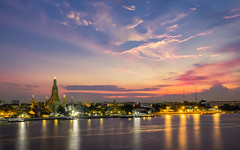 wat arun (Flutechill) Tags: night sunset dusk tower architecture cityscape river famousplace urbanskyline sky reflection twilight thailand bangkok urbanscene asia water city travel blue watarun longexposure traveldestinations landmark