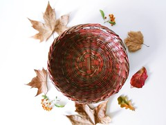 Basket for autumn made of recycled newspaper (Ekorello) Tags: basket recycled autumn wicker weaved
