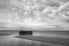 mentone-0468-ps-w (pw-pix) Tags: beach sand channel gutter wet damp water bay rock birds gulls sky clouds cloudy overcast bw blackandwhite monochrome sonya7 irconvertedsonya7 850nminfrared ir infrared portphillipbay mentonebeach mentone baysidesuburbs melbourne victoria australia