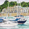 Padstow Harbour (janehatch) Tags: cottages bustling harbour boats ink watercolour coast holidays seaside england uk cornwall padstow