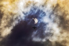 Solar Eclipse With Airplane ((Jessica)) Tags: solareclipse eclipse airplane clouds boston newengland colorful somerville eclipse2017