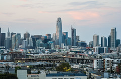 connecticut street skyline (pbo31) Tags: sanfrancisco city urban nikon d810 color august 2017 summer boury pbo31 potrerohill skyline over view sunset salesforce construction 181fremont 280 overpass highway transamerica cocacola billboard soma lightstream traffic freeway motion sign motionblur