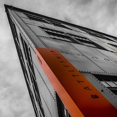 Battleship (tim.perdue) Tags: battleship building 444 front street columbus ohio downtown urban city architecture sign orange arena district instagram square angle color