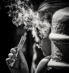 Smoke gets in your eyes (Andy J Newman) Tags: blackandwhite monochrome street bay candid cardiff cardiffbay d500 ecig extreme extremesailing girl lady nikon portrait sailing silverefex smoke smoking young wales unitedkingdom gb