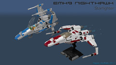 EMK-9 Nighthawk (CK-MCMLXXXI) Tags: lego moc starfighter nighthawk starwars digital build ldd render povray blocks