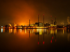 Steel Industry Power Station orange version (Wolfgang Hackl) Tags: nightscape nightphotography industry lights linz haze orange chimneys slag glow