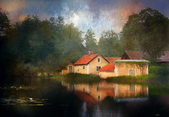 House in the forest. (BirgittaSjostedt- busy with family) Tags: house old architecture village forest lake water flower waterlily reflections summer outdoor lanscape scene texture paint painting sweden birgittasjostedt trolled artdigital