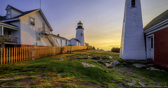 Pemaquid Point Lighthouse, Maine (Greg from Maine) Tags: pemaquid pemaquidlighthouse pemaquidpoint pemaquidpointlighthouse pemaquidpointlighthousepark maine coast lighthouse mainecoast sunrise fence