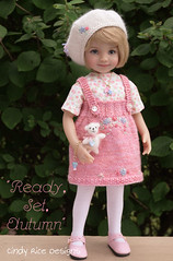 """Ready, Set, Autumn"", made for the Little Darlings. (Cindy Rice Designs) Tags: embroidery effner littledarlings doll dress jumper pinafore knit beret hat needlefelting jewelry"