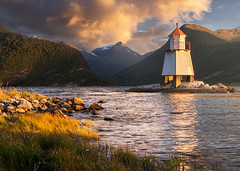 Fjordside (hauken87) Tags: norway norge fjord lighthouse sunndal sunset mountain shore