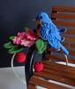 Bluebird in a cherry tree outfit - headband (Blythe's Tiny Worlds) Tags: bluebird cherry flowers headband crochet amigurumi blythe