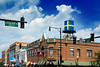 Lookin' Good Andersonville (Andy Marfia) Tags: chicago andersonville watertower swedish sweden flag neighborhood icon clarkst fosterave blue yellow citiscape streetlight d7100 1685mm 1640sec f8 iso100