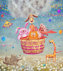 (marozn) Tags: fantasy illustration balloon children happy sky dream idea fantastic clouds summer study garden nature grass season basket kid kids friends friendship smile art many dandelions blowball fly flying animal animals dog cat hippo elephant cute background love zoo playing sunnyday colorful travel outdoors rabbit adventure trip giraffe dandelion greetingcard field