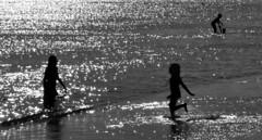 Beach Scene (Eleni Maitou) Tags: summer beach naxos nikond90 nikon silhouettes bnw sea greece