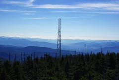 Great Reception? (trekkie313) Tags: antenna tennessee rural trees mountain sky blue atmospheric smokymountains radio tower outdoor nature forest scenic landscape pylon haze