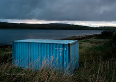 Somehow not out of place (Scotty H..) Tags: british hebrides isleofskye lochgreshornish scotland scottish skye uk waternish countryside environment highlands land landscape scenery settingsun suncet shippingcontainer