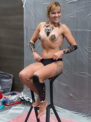 Body Paint in Progress (Ron Scubadiver's Wild Life) Tags: candid street style nikon 24120 girl woman porto portugal tattoos