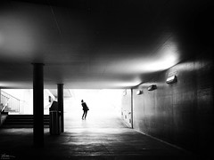 oh I lose my ... (René Mollet) Tags: lost woman underground blackandwhite urban urbanstreet shadow silhouette joy joke candite backlight street streetphotography streetart station sunrise morning renémollet