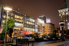 Union Square (yarnim) Tags: mall night street lowlight longexposure unionsquare sanfrancisco macys macy 35mm carlzeiss sonyrx1 city architecture