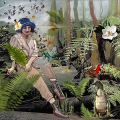 Greetings From PreHistory (Deborah McMillion) Tags: digitalart dreams mobiledigitalart mcmillion dragonfly ipadpro iart cretacous contemporary mesozoic hike surrealism sketchbook surreal naturalist original postcards retrosurrealism mystery mythology fossilflowers