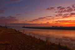 Dawn at the Trent. (alan.irons) Tags: trent river sunrise wharf quayside quay dawn disused old shipping 1dx canon tamron 1530mm wide angle clouds sky calm tranquil reflections pylons electric
