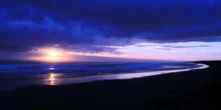 Dernières lueurs sur Muriwai Beach