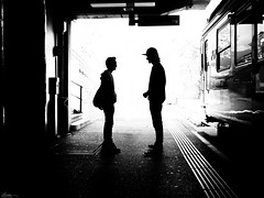 Have a little talk about it! (René Mollet) Tags: talk boys man station trainstaion train blackandwhite street streetphotography shadow silhouette streetart streetphotographiebw sunrise backlight lugano renémollet urban underground urbanstreet
