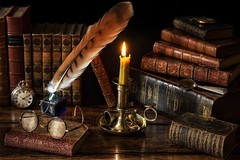 The Library by Candlelight. (memoryweaver) Tags: brass candlestick chamberstick inkwell quill stilllife memoryweaver candlelight beeswax candle leather leatherbound antiquarian books library