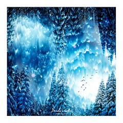 Winter Blues (~Brenda-Starr~) Tags: august2017 winter birds trees snow blue allrightsreserved windfilterphotoshop montage pscc digitalart photomanipulation