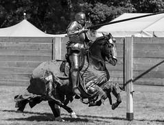 KNIGHTS JOUSTING, BOLSOVER CASTLE, DERBYSHIRE_DSC_6030_LR_2.0 (Roger Perriss) Tags: bolsovercastle horses joust medieval d750 lance armour gallop blackandwhite castle