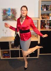 Tight skirt... (Rikky_Satin) Tags: silk satin blouse scarf thigh stretch pencil skirt pvc vinyl pumps highheels handbag crossdresser crossdressing transvestite transgender tranny tgirl sissy secretary office fashion
