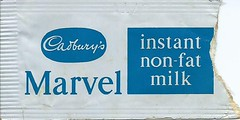 BEA Cadbury's Marvel Instant Non-fat Milk Sachet (Faversham 2009) Tags: scan scanned document bea britisheuropeanairways cadburys marvel instant powdered milk sachet