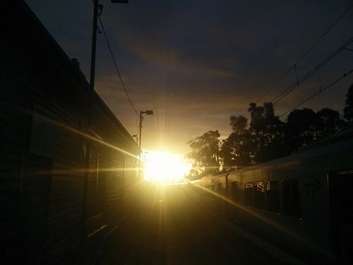 Sunset with Metrotrains, Melbourne.